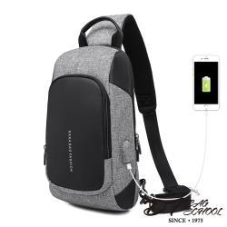 DF BAGSCHOOL - 都市型男USB充電防盜單肩包-共2色