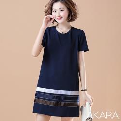 AKARA 時尚金屬風條紋拼色連身裙洋裝