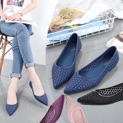 森之舞-春夏新款尖頭縷空防滑果凍涼鞋(藍/紫/黑/粉)4色選 36-40-預購