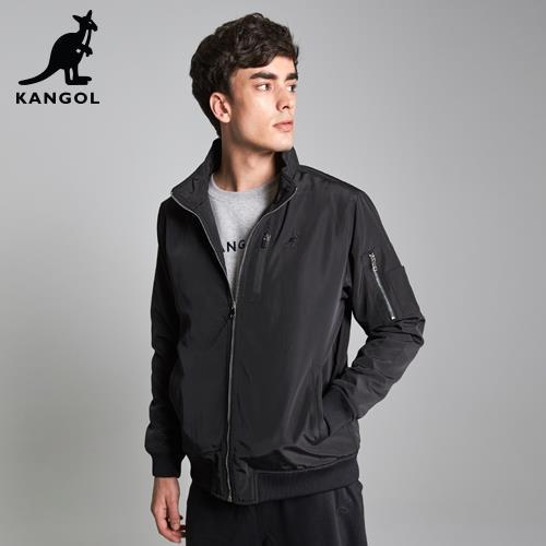 【英國KANGOL】立領鋪棉飛行外套-黑色/
