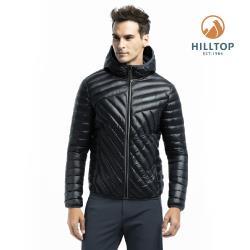 【hilltop山頂鳥】男款輕量超潑水保暖蓄熱羽絨短大衣F22MZ3黑美人