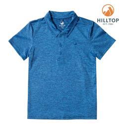 【hilltop山頂鳥】童款吸濕快乾抗UV彈性抗菌POLOS14C02勘天藍/黑深藍