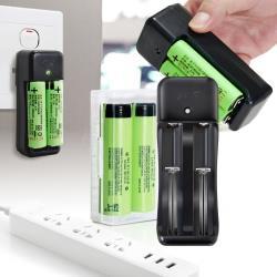 18650新版通過BSMI認證充電式鋰單電池3350mAh(日本松下原裝正品)*2入+智慧型認證雙充*1+防潮盒*1