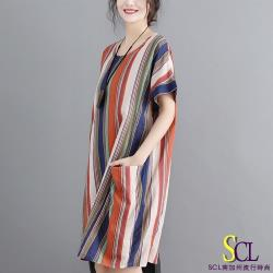 SCL 氣質條紋大地系連身裙