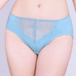 思薇爾 夏之戀人系列M-XXL蕾絲中腰三角內褲(礦水藍)