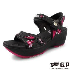 GP 厚底雕花磁扣兩用涼拖鞋G0758W-黑桃色(SIZE:35-39 共二色) G.P(Gold.Pigon) 涼鞋 防水 雨天