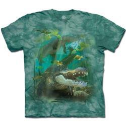 摩達客(預購)美國進口The Mountain  鱷魚游水 純棉環保藝術中性短袖T恤