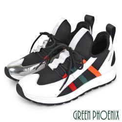 GREEN PHOENIX 國際精品多彩旗幟異材質拼接綁帶西班牙原裝休閒鞋U28-21107