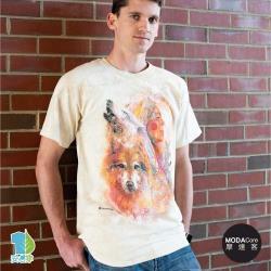 摩達客(預購)美國進口The Mountain 印第安女神與狼 純棉環保藝術中性短袖T恤-3XL