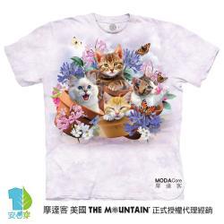 摩達客(預購)美國進口The Mountain 花園貓咪哦耶 純棉環保藝術中性短袖T恤