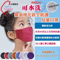 可水洗 獨家專利液化鋅防護防潑水口罩 8入/組(兒童款)