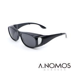 【A.NOMOS】包覆式側開窗偏光亮黑經典款偏光墨鏡/太陽眼鏡(3009)