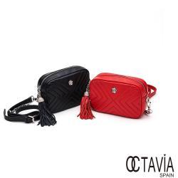 OCTAVIA 8 真皮 - 小姐不乖  羊皮V紋流蘇鍊條方型小斜肩背包 - 二色可選