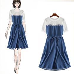 麗質達人 - 11096蕾絲拼接假二件洋裝