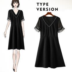 麗質達人 - 11169黑色短袖假二件洋裝