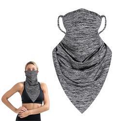 活力揚邑 冰絲涼感防曬抗UV吸濕排汗三角頭巾面罩-花灰
