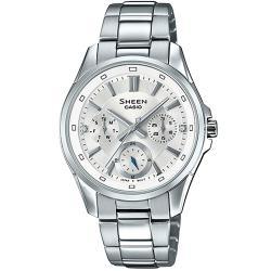 CASIO SHEEN 簡約質感晶鑽三眼計時錶/銀/SHE-3060D-7A