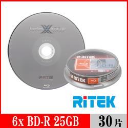 RITEK錸德 6X BD-R 25GB 藍光片 X版/30片布丁桶裝