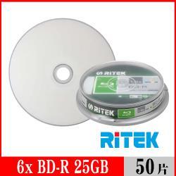 RITEK錸德 6X BD-R 25GB 藍光片 珍珠白滿版可列印/50片布丁桶裝