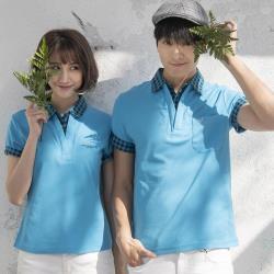 【LEIDOOE】格紋領假兩件男版短袖POLO衫-藍色(16510)