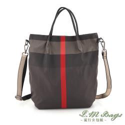 【L.M.bags】休閒輕盈簡約手提斜背兩用尼龍包(紅灰格紋)