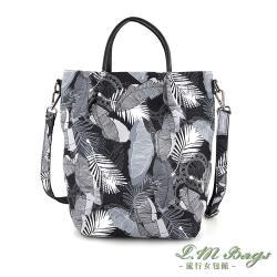 【L.M.bags】休閒輕盈印花手提斜背兩用尼龍包(灰葉)