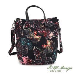 【L.M.bags】休閒輕盈印花手提斜背兩用尼龍包(彩楓)