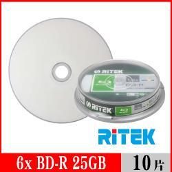 RITEK錸德 6X BD-R 25GB 藍光片 珍珠白滿版可列印/10片布丁桶裝