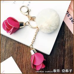 『坂井.亞希子』創意大毛球垂墜山茶花造型鑰匙圈