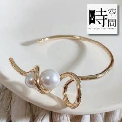 『時空間』率性風格捲曲線條珍珠纏繞造型手環 -單一色系