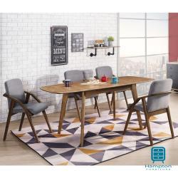 【Hampton 漢汀堡】丹迪系列全實木三段式拉合餐桌椅組-1桌4椅