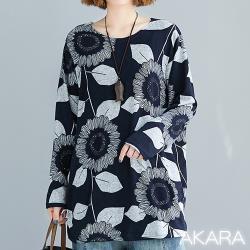 AKARA 庭園向日花系列長袖上衣
