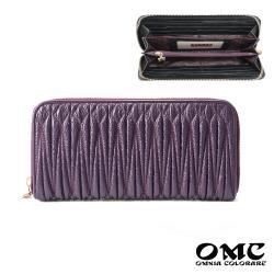 【OMC】立體抓皺感頭層牛皮8卡1照單拉鍊長夾-紫色