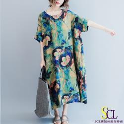 SCL 孔雀綠渲染暈花連身裙 孔雀綠 花紫粉