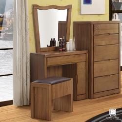 【Hampton 漢汀堡】格溫系列實木化妝鏡台組