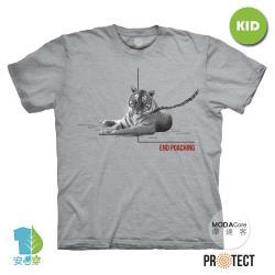摩達客-預購-美國The Mountain保育系列 待歸臥虎 兒童灰色純棉短袖T恤