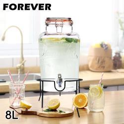 日本FOREVER 派對專用玻璃果汁飲料桶8L(附桶架)