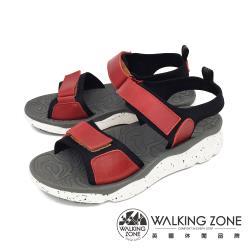 WALKING ZONE (女) 黏扣帶厚底彈性涼鞋 - 紅(另有黑)