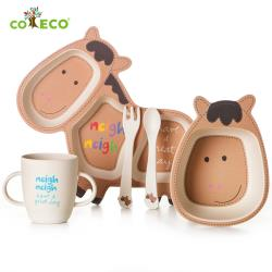 coeco竹纖維動物造型兒童餐具五件組-小馬