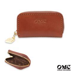 【OMC】義大利植鞣革多用途牛皮收納零錢包(咖啡)