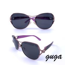 【GUGA】淑女款|古典花朵曲線設計偏光太陽眼鏡/墨鏡(s3328-灰紫款)