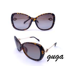 【GUGA】淑女款 歐式古典幾何圖騰偏光太陽眼鏡/墨鏡(6272-茶色豹紋款)