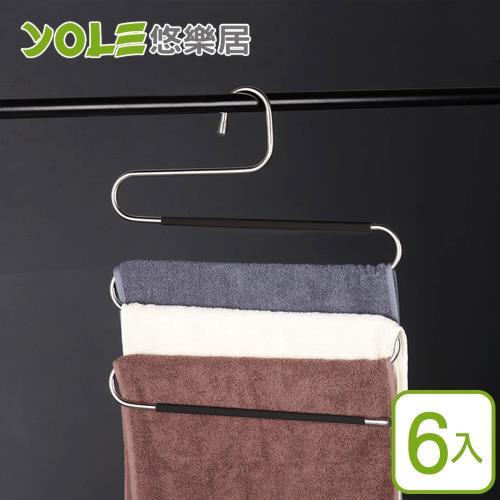 YOLE悠樂居-201不鏽鋼加厚防滑多層領帶吊褲魔術衣架(6入)