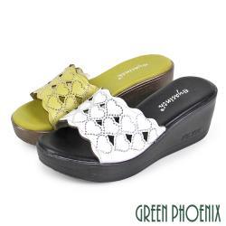 GREEN PHOENIX 愛心圖騰水鑽花邊全真皮楔型拖鞋U29-20235