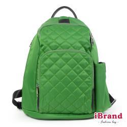 【iBrand】率性菱格紋後開式防盜尼龍後背包(M)-蘋果綠 HS-2003-45G