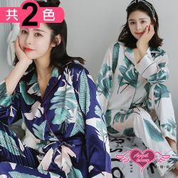 天使霓裳 居家睡衣 清新綠葉 二件式長袖成套休閒服(共2色F) UA1172