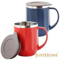 Just Home質感優質304不鏽鋼附蓋隔熱馬克杯/辦公室杯(2件組)