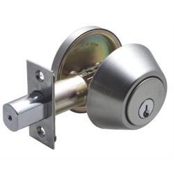 DA61Y 加安輔助鎖補助鎖 門鎖 60mm、扁平鑰匙、不銹鋼磨砂色、單面 門厚52-65mm 防火級 鋁門硫化銅門木門