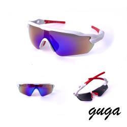 【GUGA】運動款|都市簍空感偏光運動太陽眼鏡/墨鏡(P1091-C10-5白紅框藍水銀)