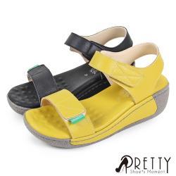 Pretty 素面一字帶沾黏式繞踝厚底楔型涼鞋BA-26525